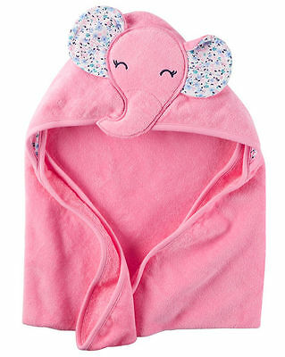 New Carter's Hooded Bath Towel Happy Elephant Face Terry Material NWT Baby Pink