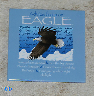 """LEANIN TREE """"Advice From An Eagle"""" ~#26350 Magnet ~ Cherish Freedom * Be Proud ~"""