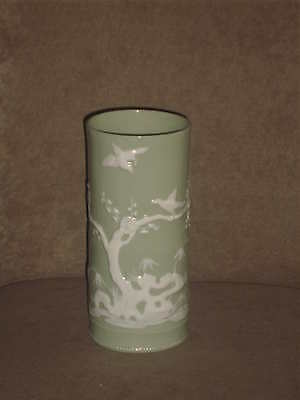 "Rare Vintage Lenox 8"" Celadon Green Vase White Raised Asian Motif Old Blue Mark"