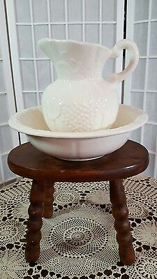 Vintage Pitcher Wash Basin Bowl CALIF USA 497 Marked Pottery Grape with Vine(1
