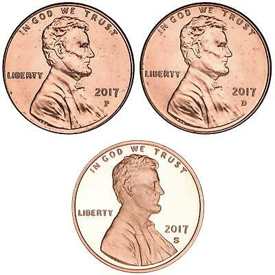 2017 P D S Lincoln Shield Cent Year Set Proof & BU US 3 Coin Lot
