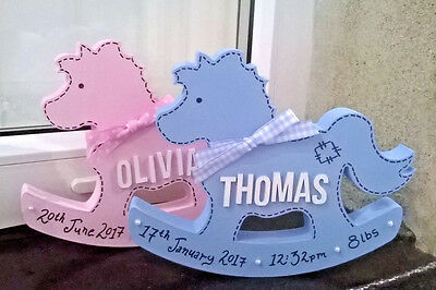 Personalized Freestanding MDF Wooden Rocking Horse New Baby Christening Birthday