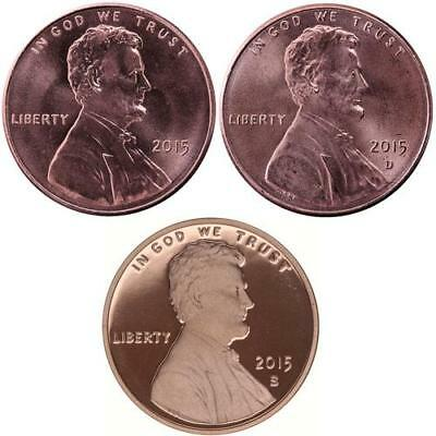 2015 P D S Lincoln Shield Cent Year Set Proof & BU US 3 Coin Lot