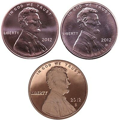 2012 P D S Lincoln Shield Cent Year Set Proof & BU US 3 Coin Lot