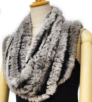 Genuine Real Farm Rex Rabbit Fur Hand Knitted Circle Scarf Scarves New Love Wrap