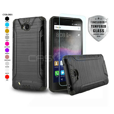 Brushed Armor Hybrid Cover Phone Case For [Huawei Ascend Xt] +Tempered Glass