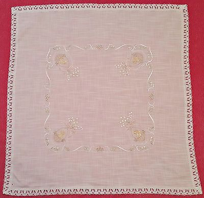 Vintage Easter Chicken Basket Embroidery Lace Frame White Pink Green Tablecloth