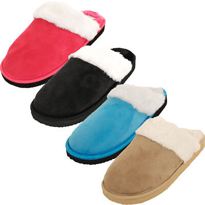 Womens Furry Slippers Faux Suede Fur Cozy Fuzzy House Shoes Scuff Mule Soft Warm