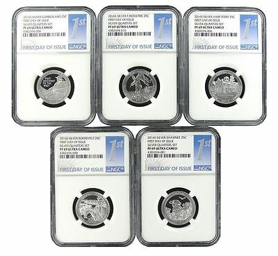 2016 S National Park Silver Quarter Set NGC PF69 Ultra Cameo  1st Day Issue