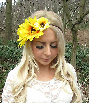 Large Yellow Sunflower Rustic Flower Garland Headband Hair Crown Festival 2242