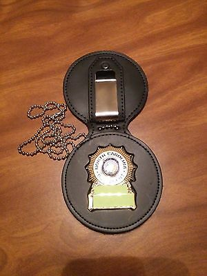 NC Bail Agent Badge Holder Recessed Cut Out Shield Badges,Neck Chain, Belt Clip,