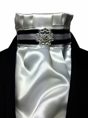 IM Equestrian deluxe Pre-tied satin stock tie for dressage competition. In gi...