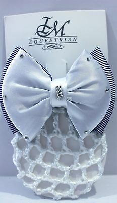 IM Equestrian Hairclip - white knot with blue stripes