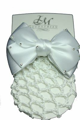 IM Equestrian Hairclip - white knot with crystals