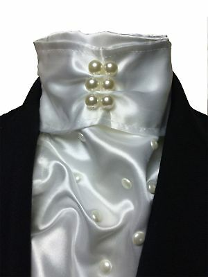 IM Equestrian deluxe white satin stock tie - dressage competition stock tie i...