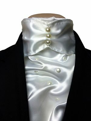 IM Equestrian deluxe dressage competition white satin stock tie in gift box -...