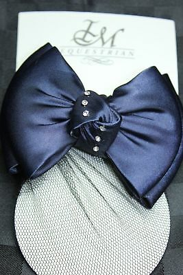 IM Equestrian Hairclip - blue knot with crystal stripes