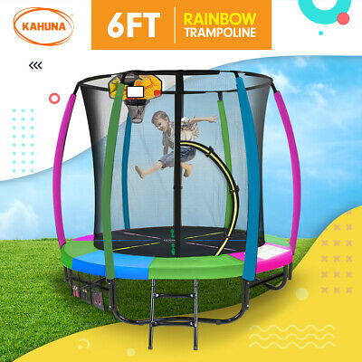 New 6ft Trampoline Free Safety Net Spring Pad Cover Mat Basketball Set Rainbow