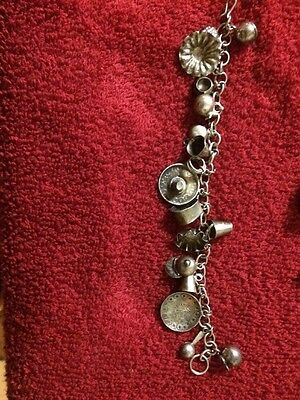 VINTAGE Mexican Sterling Silver Charm Bracelet w 17 Sterling Charms