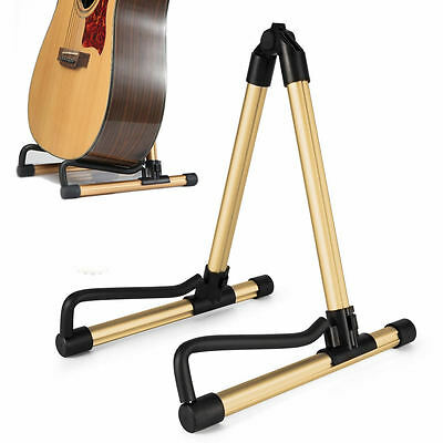 Universal Folding Guitar Floor Stand Holder A Frame Acoustic Electric Bass Gold