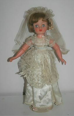 "Horsman Cindy Bride Doll 82 Jointed elbows 17.5"" Rooted Hair Sleep Eyes Gown"