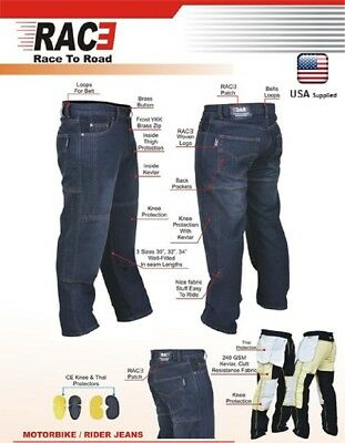 Men Motorcycle Motorbike Denim Jeans Trouser Pants with Protective Lining Black