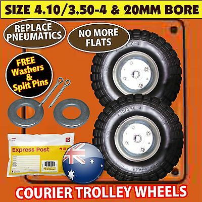 TROLLEY WHEELS x 2 WITH 20MM BORE SIZE: 4.10/3.5-4 NEW FAST SHIP EXPRESS SACK