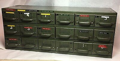 Vintage EQUIPTO Steel Industrial Parts Bin 18 Drawer Cabinet 34 X11 X 14 Tall