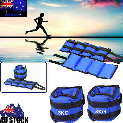 2x 3kg Ankle Wrist Weights Double Straps GYM Equipment Fitness Training Yoga 6KG
