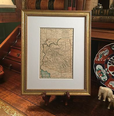 Framed Original 1896 Antique Map ARIZONA Flagstaff Tombstone Phoenix Tucson Yuma