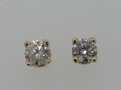 Diamant Brillant Ohrstecker 585 Gelbgold 14Kt Gold 2 Brillanten total 0,11ct
