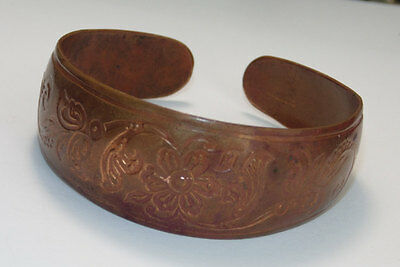 Antique Vintage 1920's Art Nouveau Ornate French Copper Cuff Bracelet Flowers