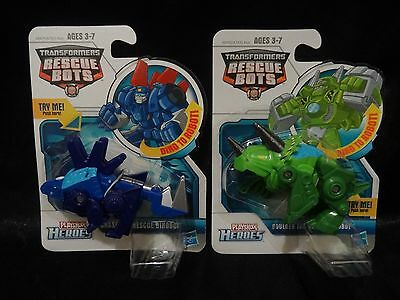 2 Pack Set: Playskool Transformers Rescue Bots Boulder and Chase NEW!!