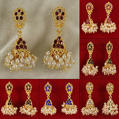 Goldtone Bollywood Traditional Jhumka Earring Set Wedding Jewelry BSE7038A-PAR