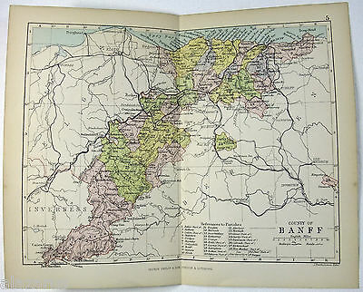 Philips 1882 Map of The County of Branff Scotland by J. Bartholomew