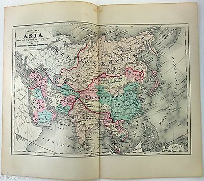 Original 1875 Copper-Plate Map of Asia by A. J. Johnson