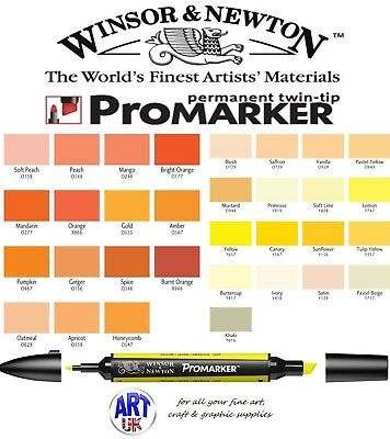 Winsor & Newton PROMARKER Pen Yellow Orange Drawing Art Student Letraset