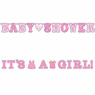 2 Pink Girl's New Baby Shower With Love Party Cutout Letter Banner Decorations