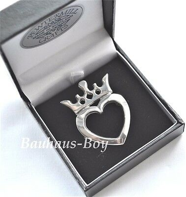 Kilt Jacket Lapel Brooch Scottish Luckenbooth Heart Crown Design Solid Pewter