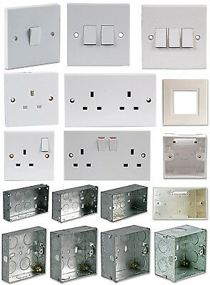 Light Switch Electrical Mains Socket Back Box Finger Plate Single Double Metal