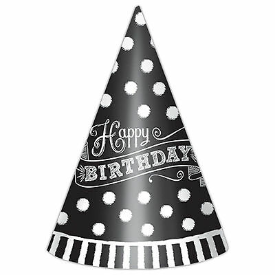 12 Classic Black & White Happy Birthday Party Paper Cone Hats