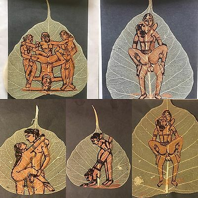 5 Vintage Indian Peepal Leafs Hand Painting KamaSutra Five Pipal Leafs