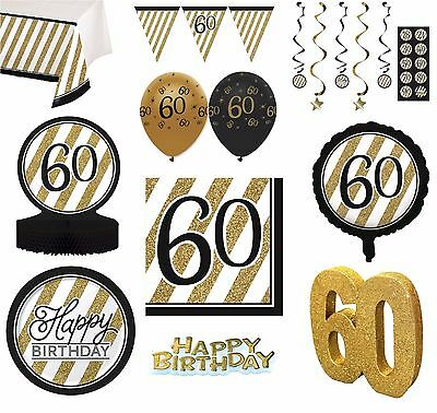 BLACK & GOLD Age 60 - Happy 60th Birthday Bday PARTY ITEMS Decorations Tableware