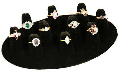 Black Velvet 10 Finger Oval Ring Display Stand Jewelry Presentation Displays