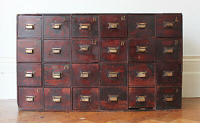 Antique Apothecary Haberdashers Bank of Drawers Cabinet Chest