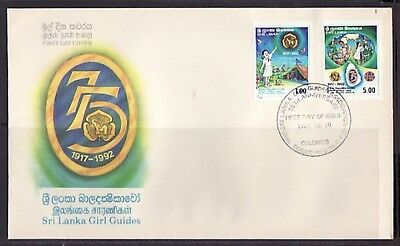 / Sri Lanka, Scott cat. 1071-1072. Girl Guides Anniversary. First day cover.