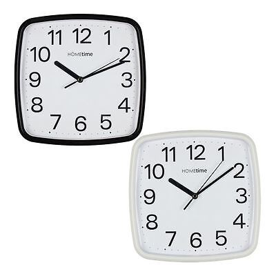 Hometime 24cm Rounded Square Easy to Read Bold Wall Clock Silent Sweep Movement