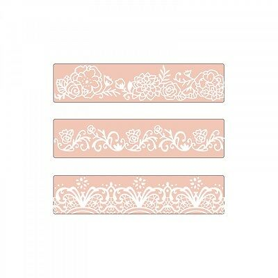 Sizzix Textured Impressions Embossing Folders BORDER SET 3pk David Tutera Floral