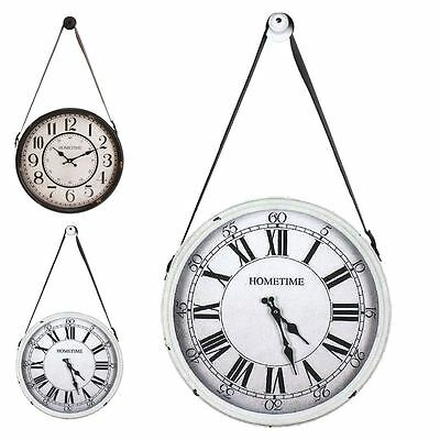 Hometime 40cm Metal Wall Clock Hanging with Wall Peg Rustic Hall Conservatory
