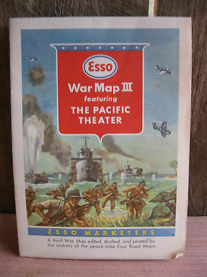 """ESSO WORLD WAR II MAP OF THE PACIFIC THEATER & JAPAN c1944  23"""" X 33"""". 2-SIDED."""